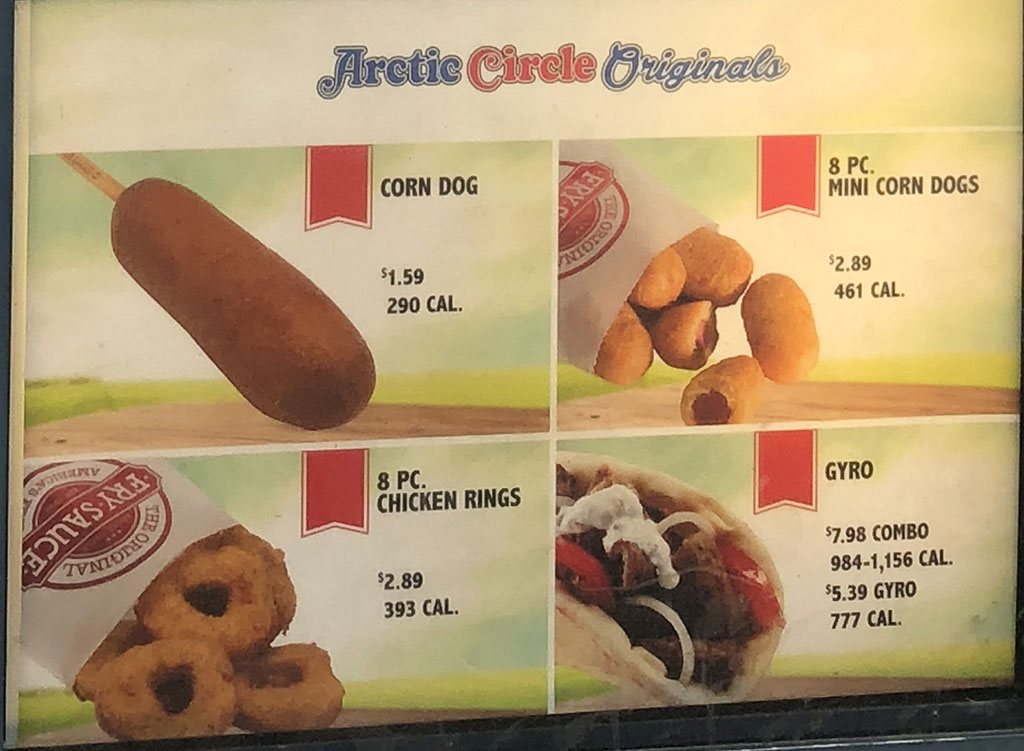 Arctic Circle menu - originals