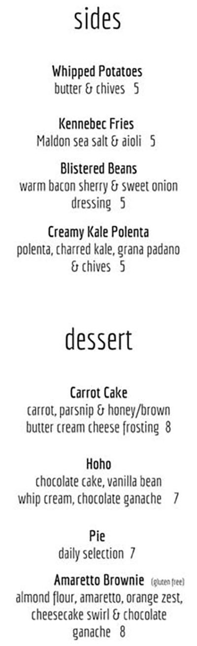 Avenues Bistro On Third menu - sides, desserts
