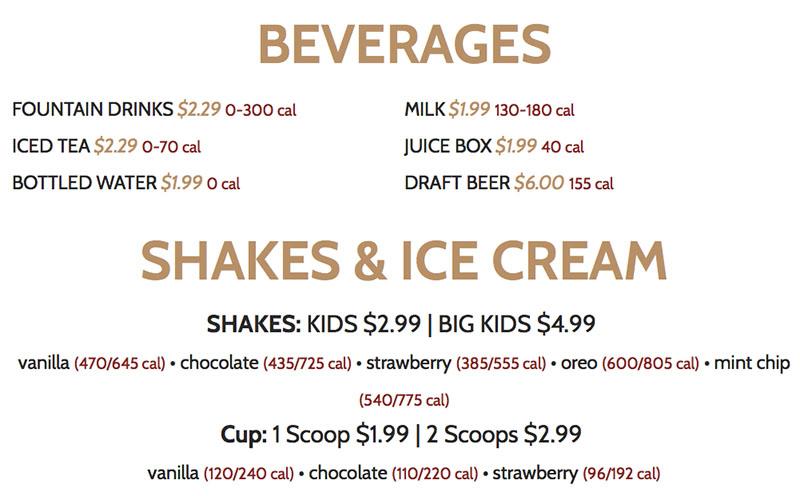 BGR Sugar House menu - beverages