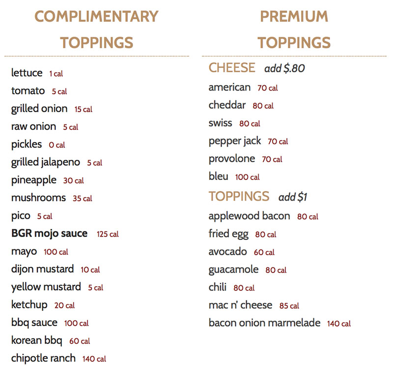 BGR Sugar House menu - burger toppings