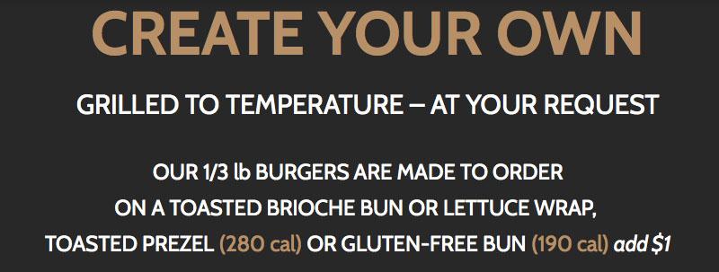 BGR Sugar House menu - create your own