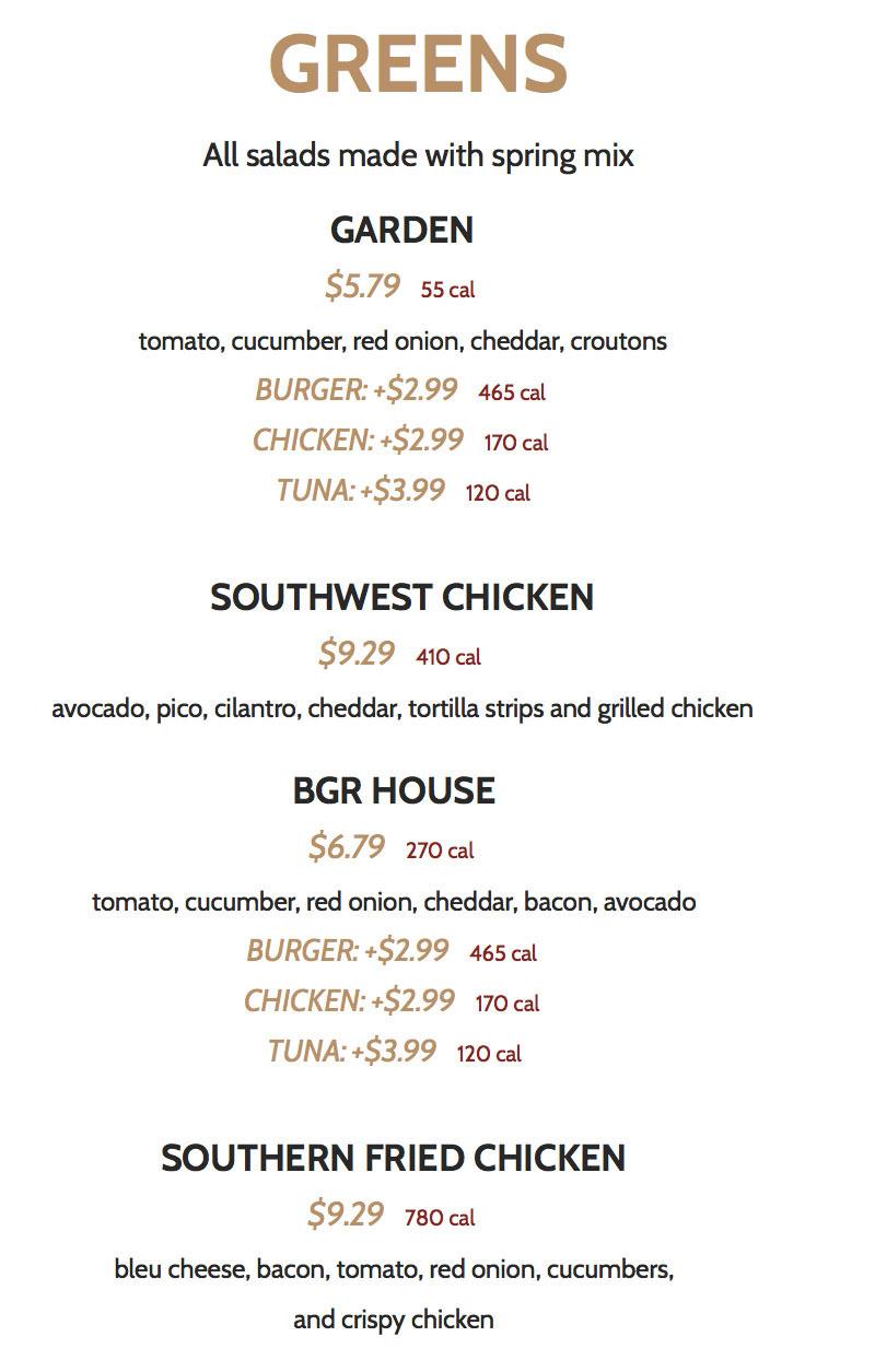 BGR Sugar House menu - greens
