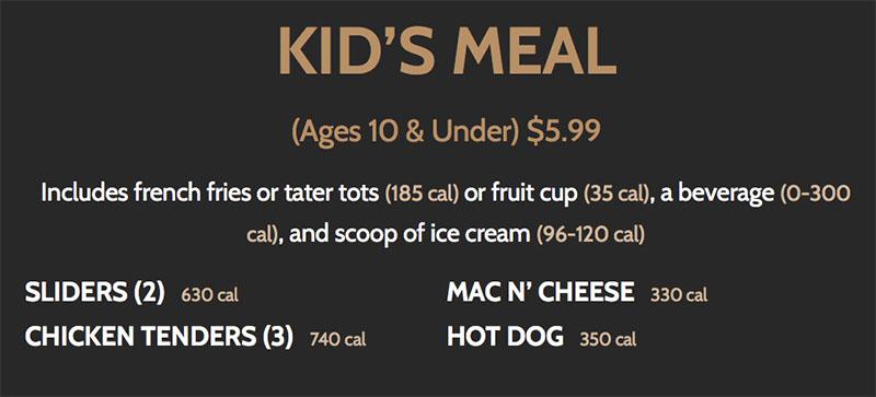 BGR Sugar House menu - kids meals