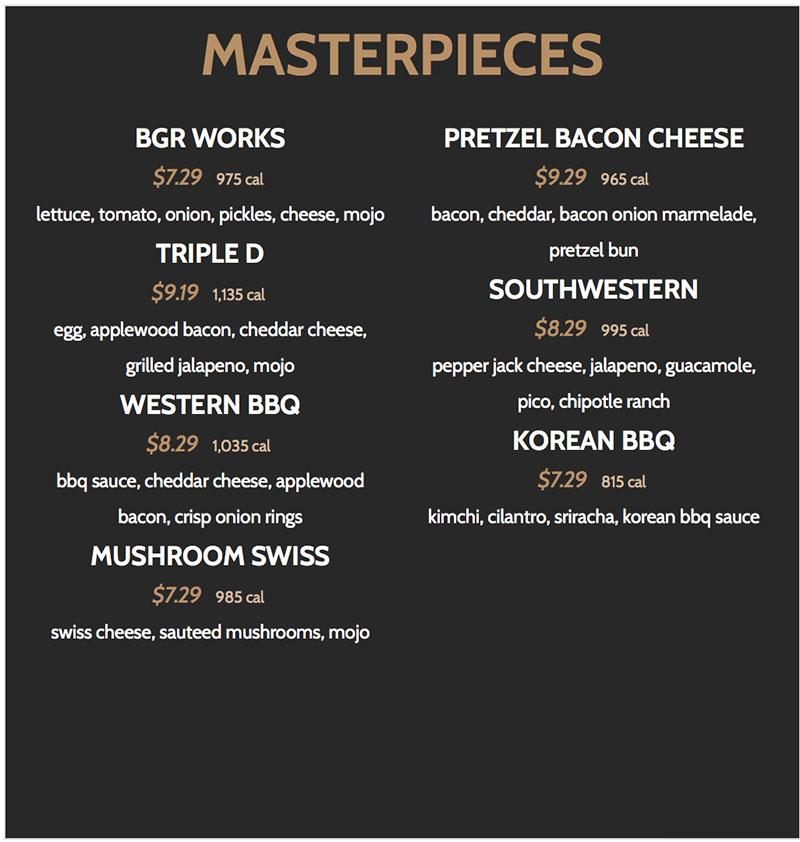BGR Sugar House menu - masterpieces