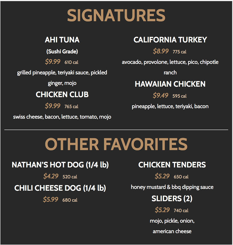 BGR Sugar House menu - signatures and other favorites