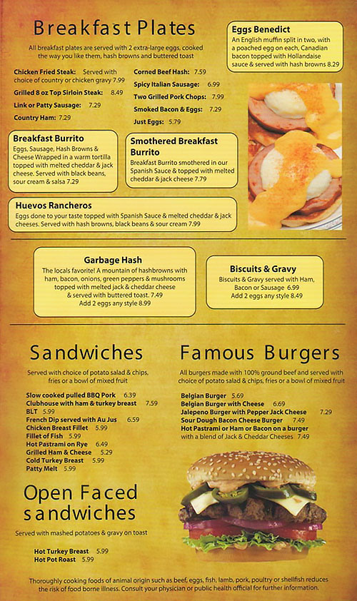 Belgian Waffle And Omelet Inn menu - breakfast plates, sandwiches, burgers