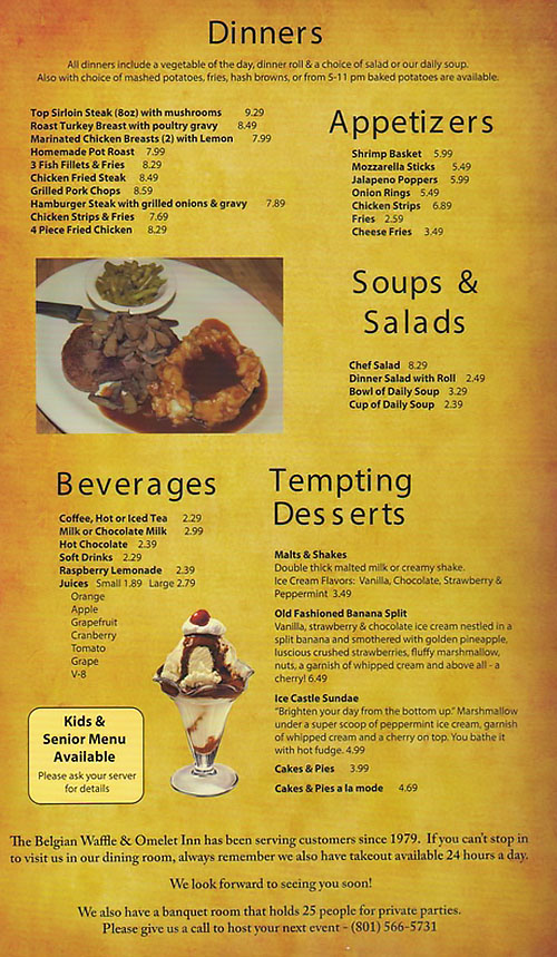 Belgian Waffle And Omelet Inn menu - dinners, appetizers, soups, beverages, desserts