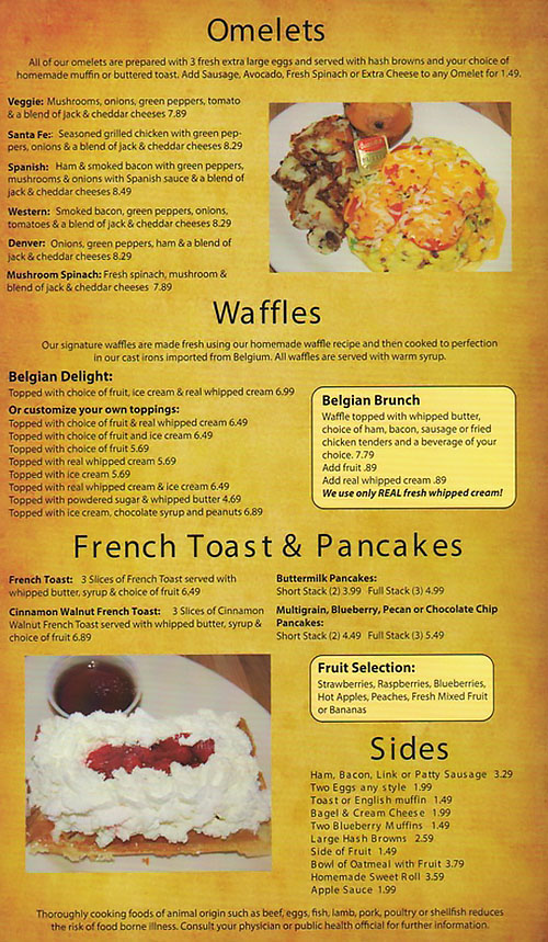 Belgian Waffle And Omelet Inn menu - omelets, waffles, french toast