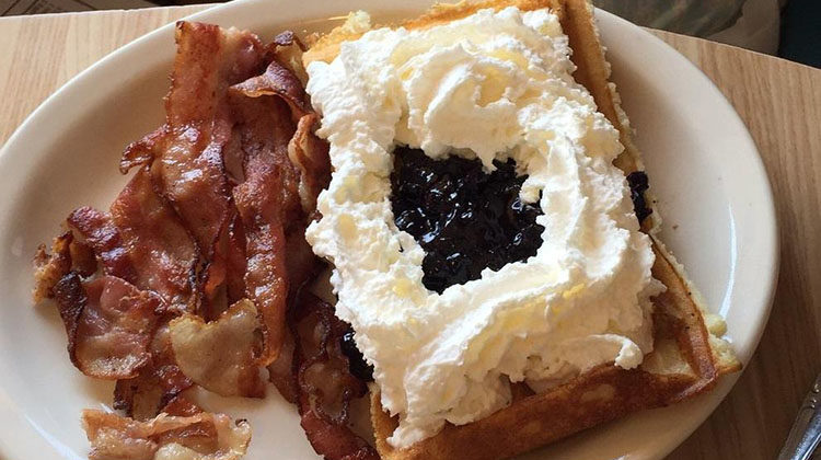 Belgian Waffle And Omelet Inn menu - waffles and bacon 24 hours a day. Credit Belgian Waffles