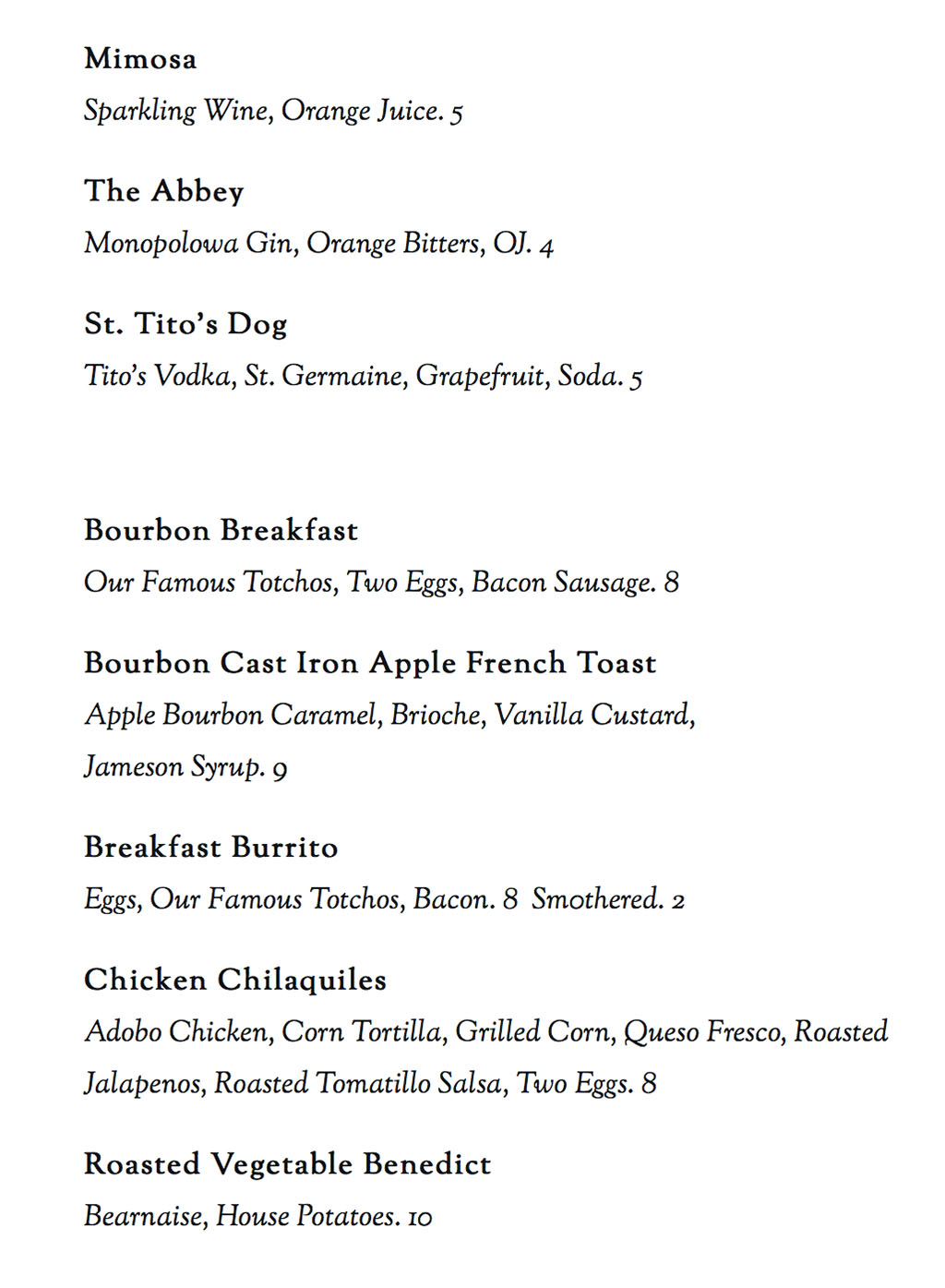 Bourbon House menu - more breakfast and brunch