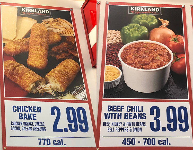 Costco food court menu - chicken bake and beef chilli