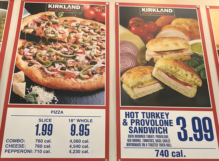 Costco food court menu - pizza and sandwiches