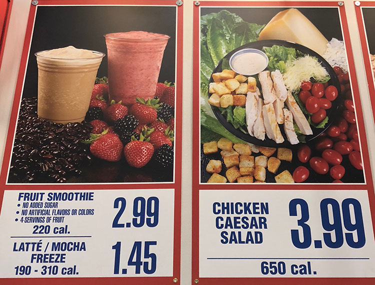 Costco food court menu - smoothies and caesar salad