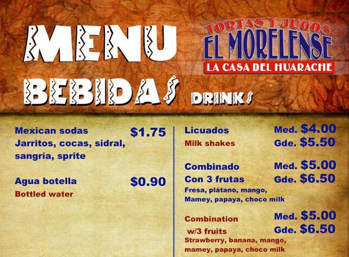 El Morelense menu - bebidas