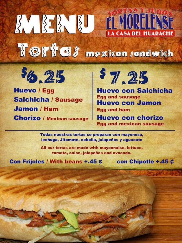 El Morelense menu - more tortas