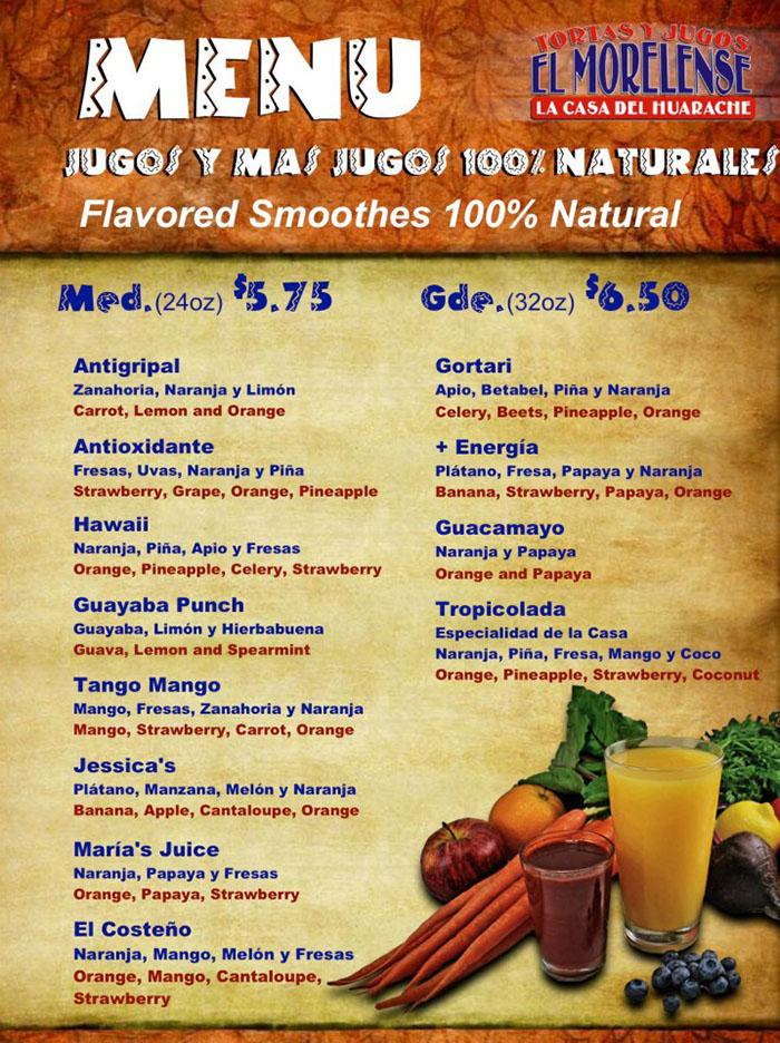 El Morelense menu - smoothies