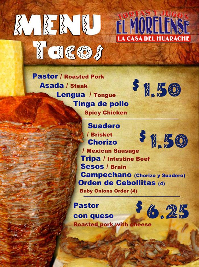 El Morelense menu - tacos