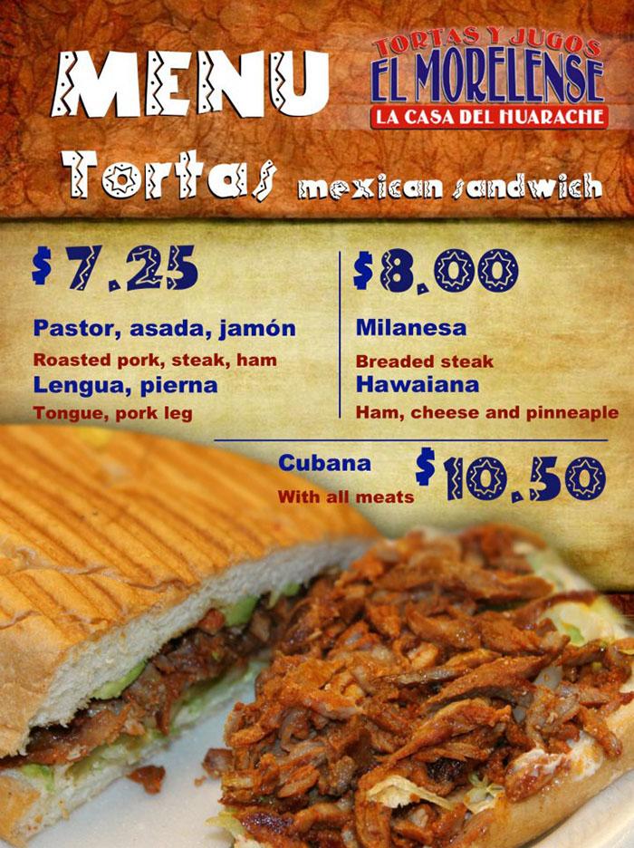 El Morelense menu - tortas