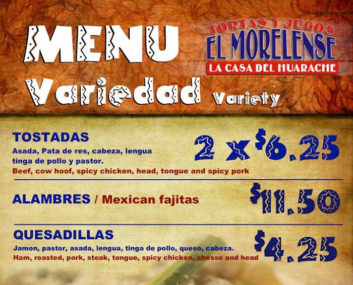 El Morelense menu - variety
