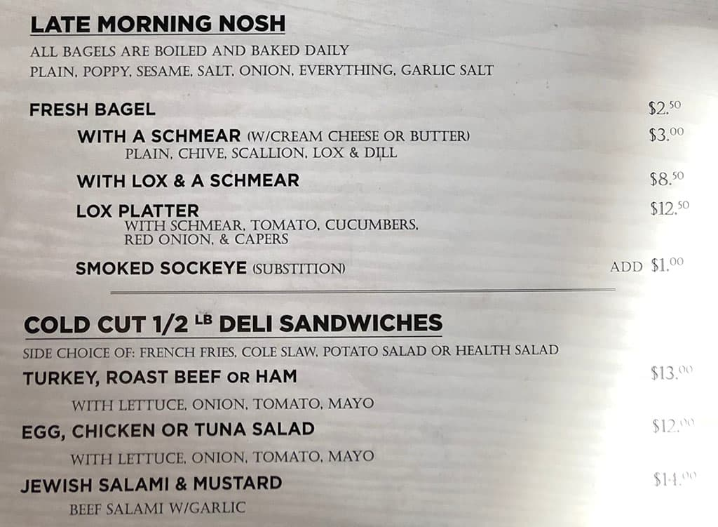 Feldmans Deli menu - mornings, cold cut sandwiches