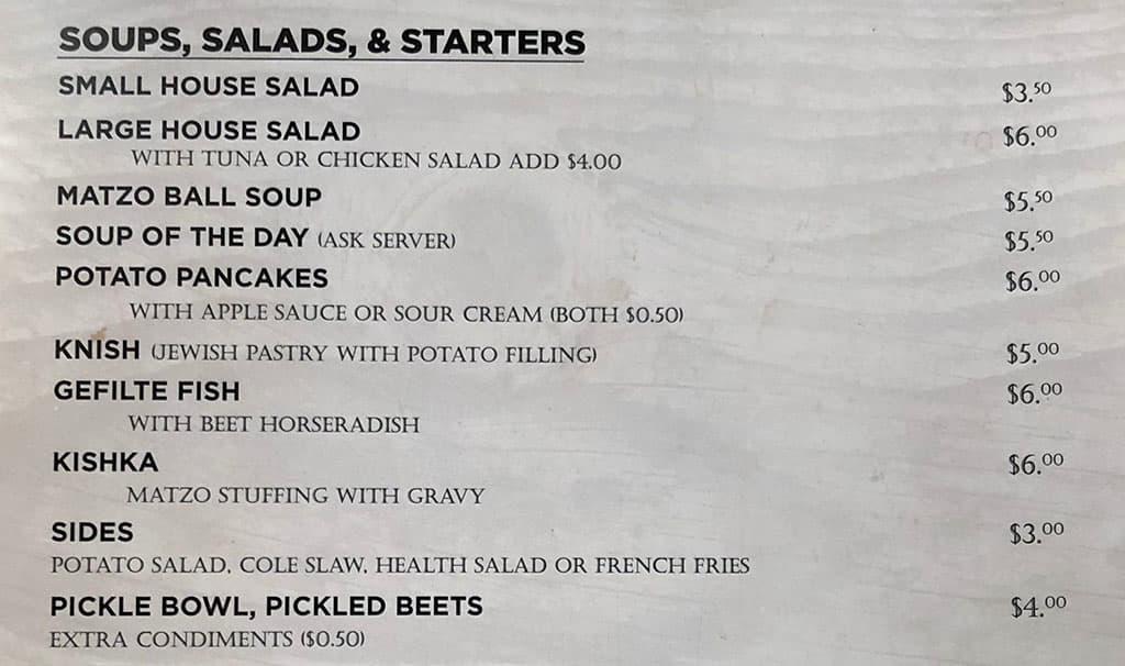 Feldmans Deli menu - soups, salads, starters
