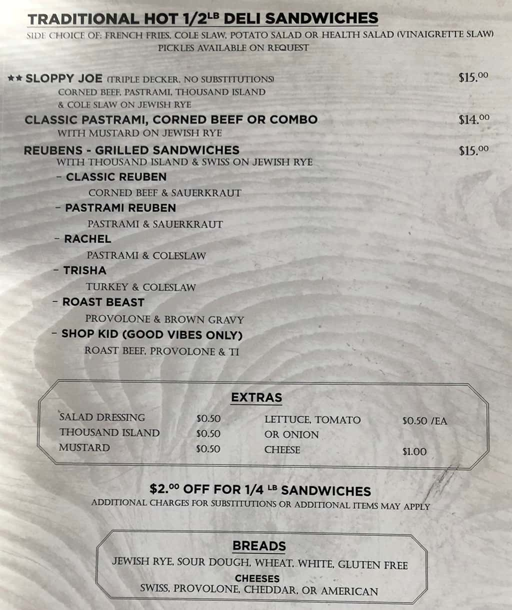Feldmans Deli menu - traditional half pound hot sandwiches