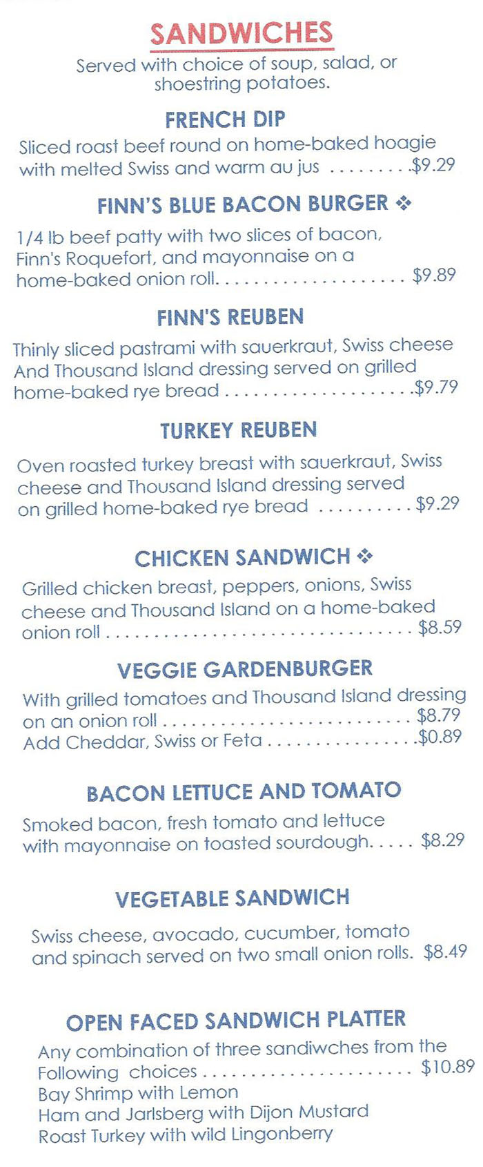 Finn's Cafe menu - lunch sandwiches