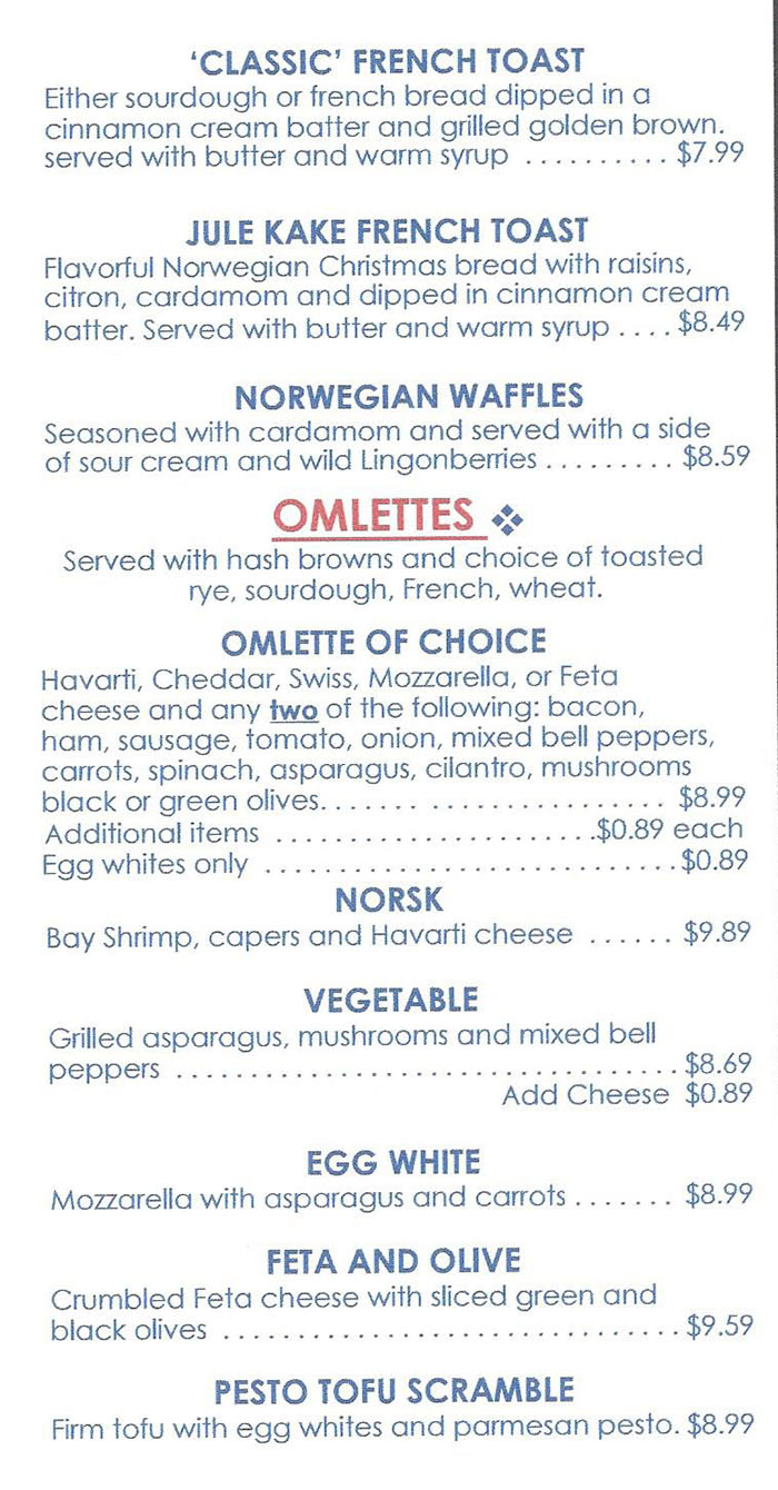Finn's Cafe menu - more breakfast