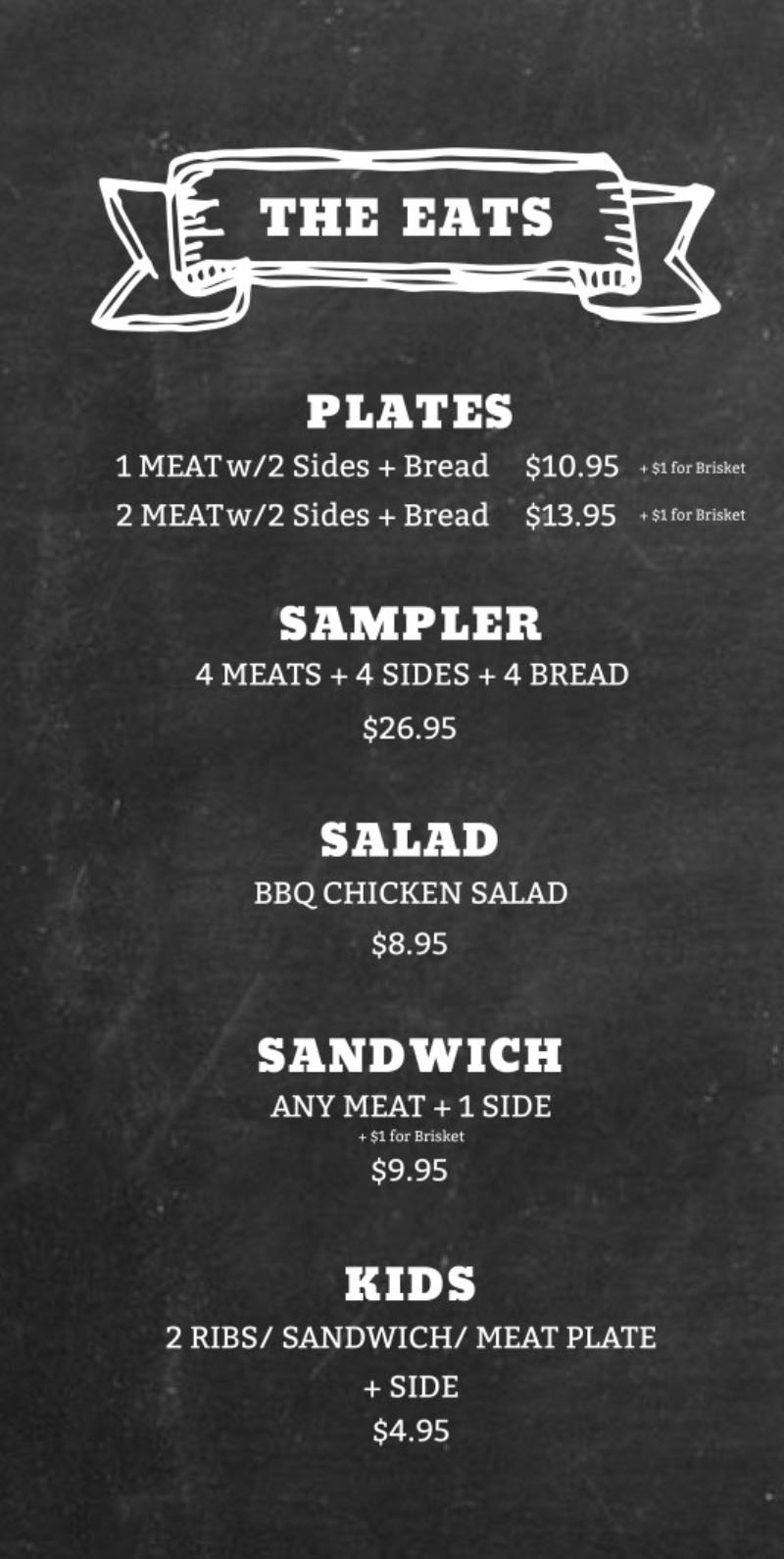 Five Star BBQ Company menu - plates, sampler, salad, sandwich