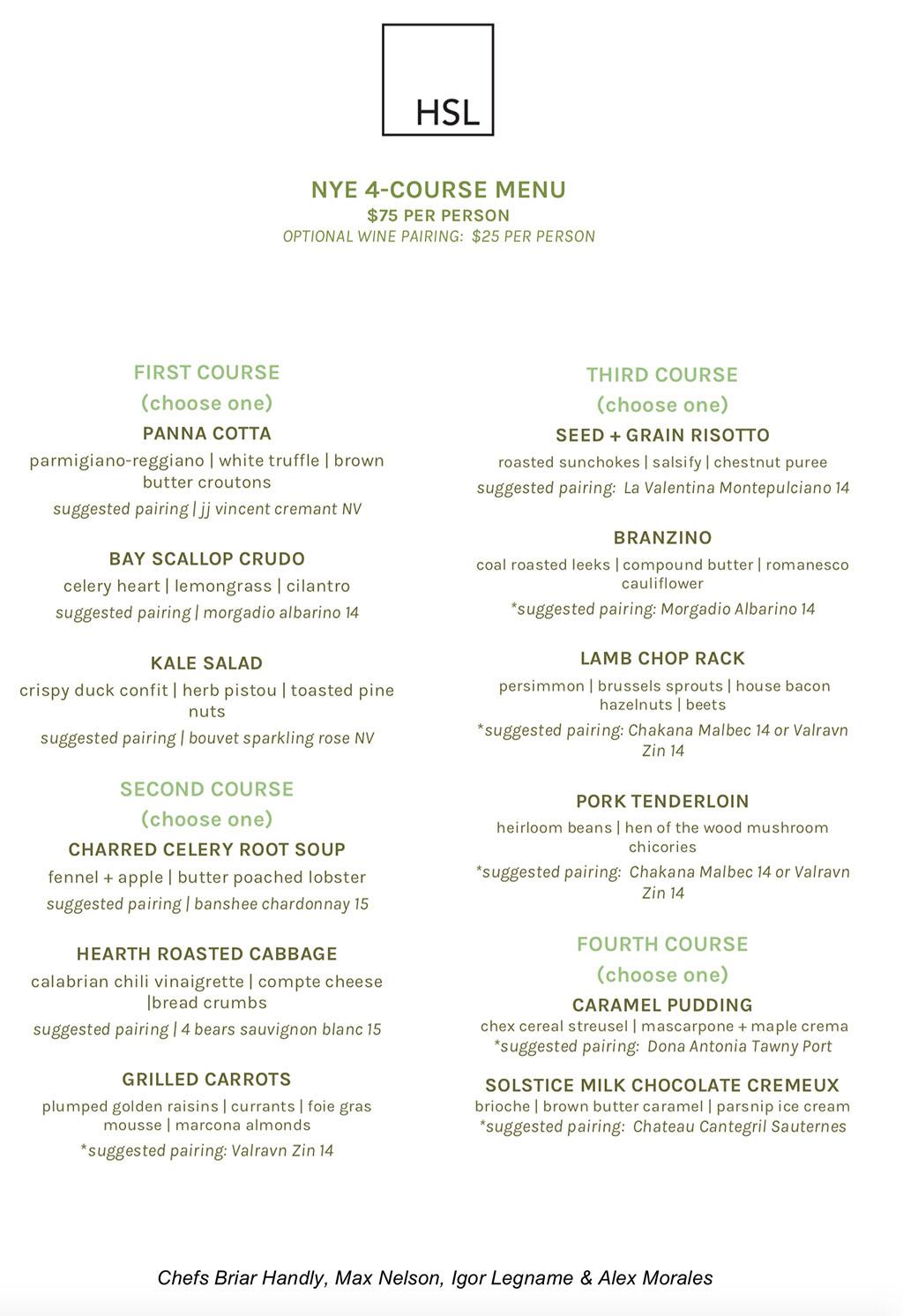 HSL NYE 2017 menu