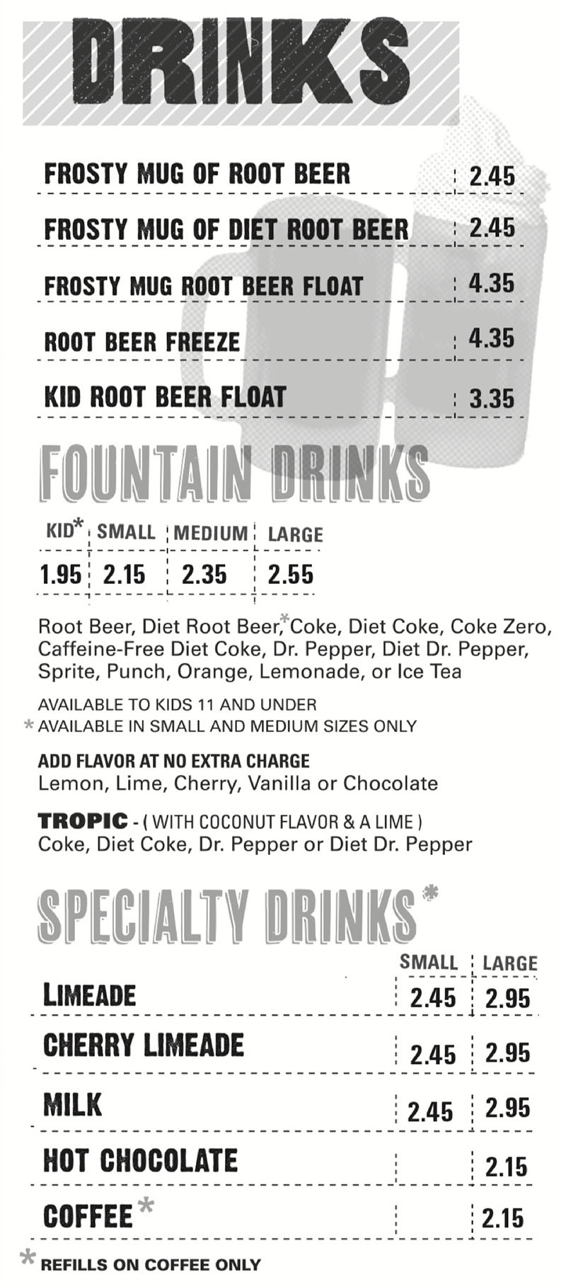 Hires Big H menu - drinks