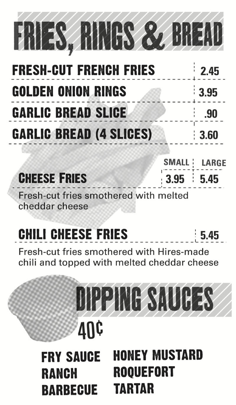 Hires Big H menu - fries, rigs, bread, sauces