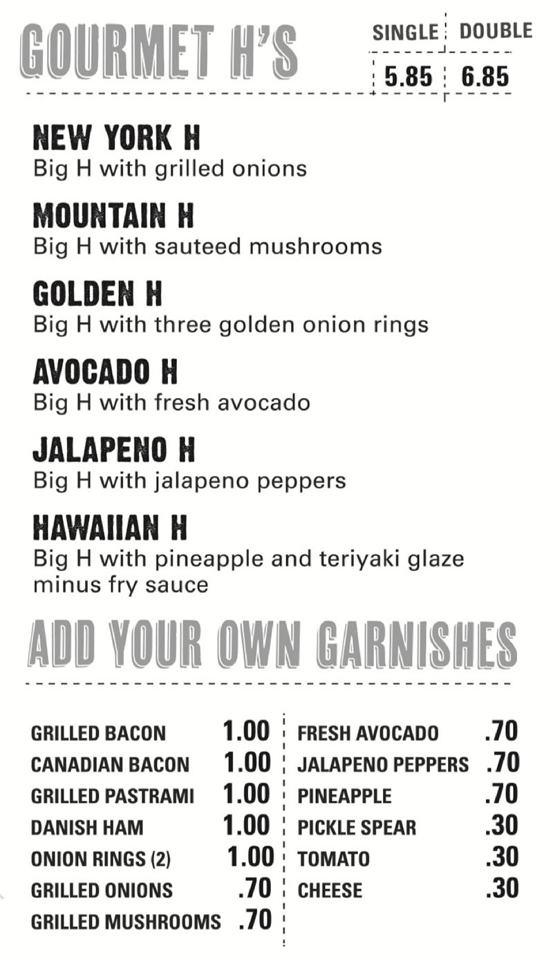 Hires Big H menu - gourmet H, garnishes