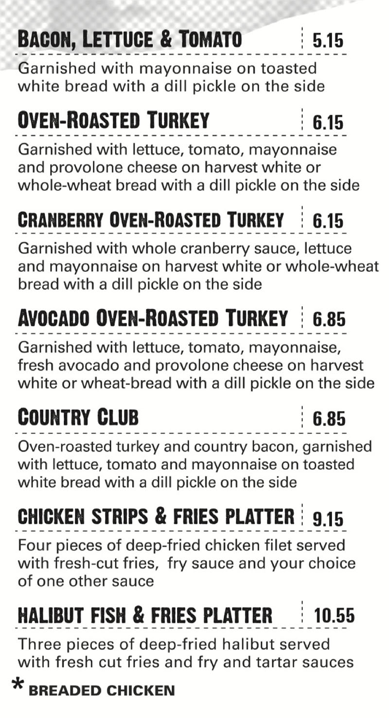 Hires Big H menu - more sandwiches