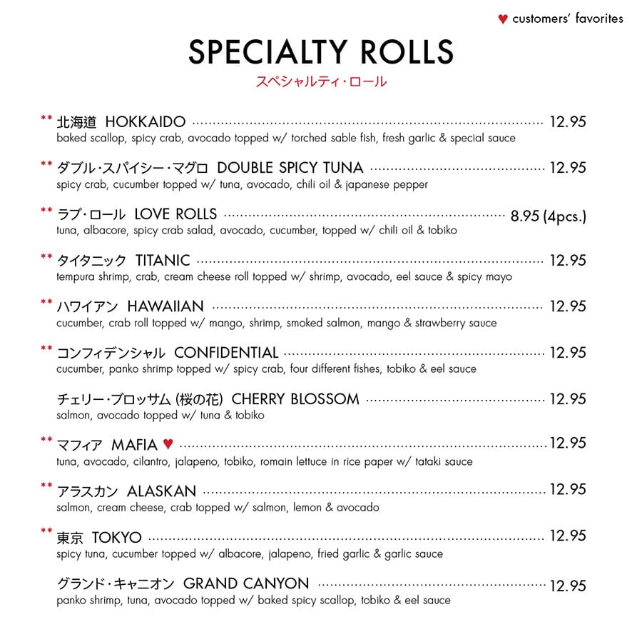Itto Sushi menu - specialty rolls