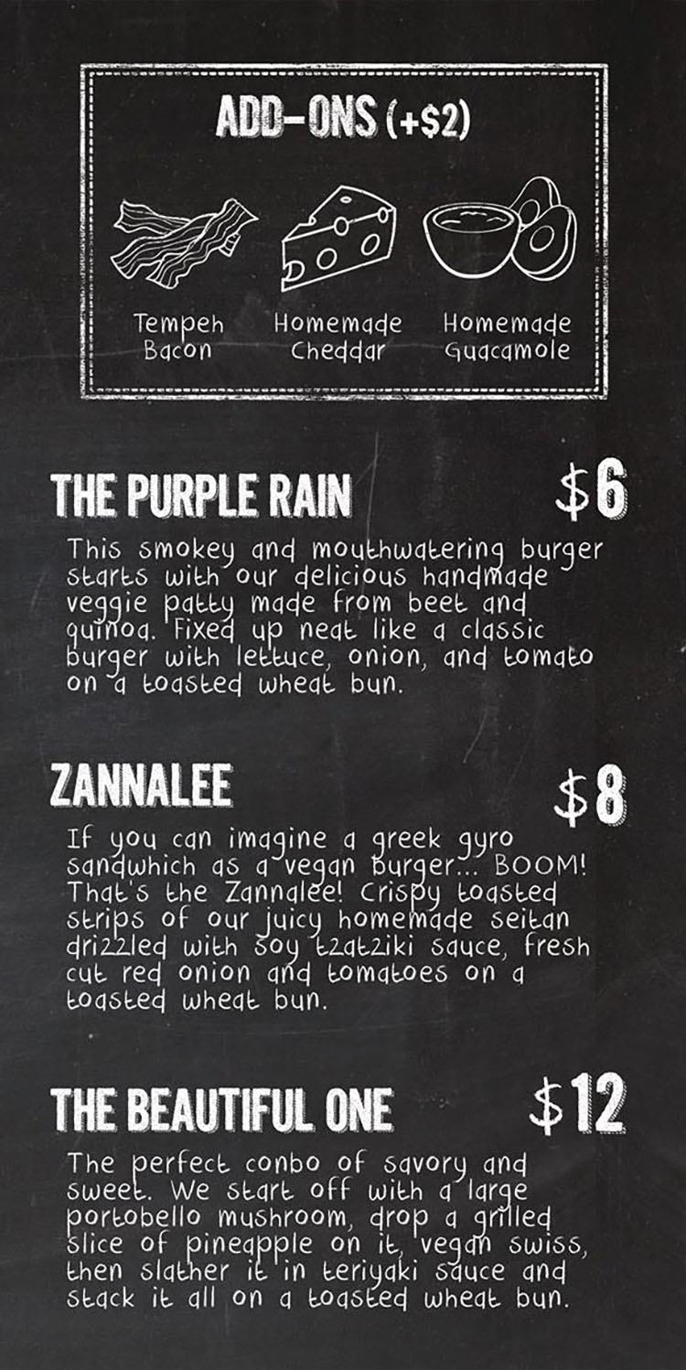 KInd burger menu - page one