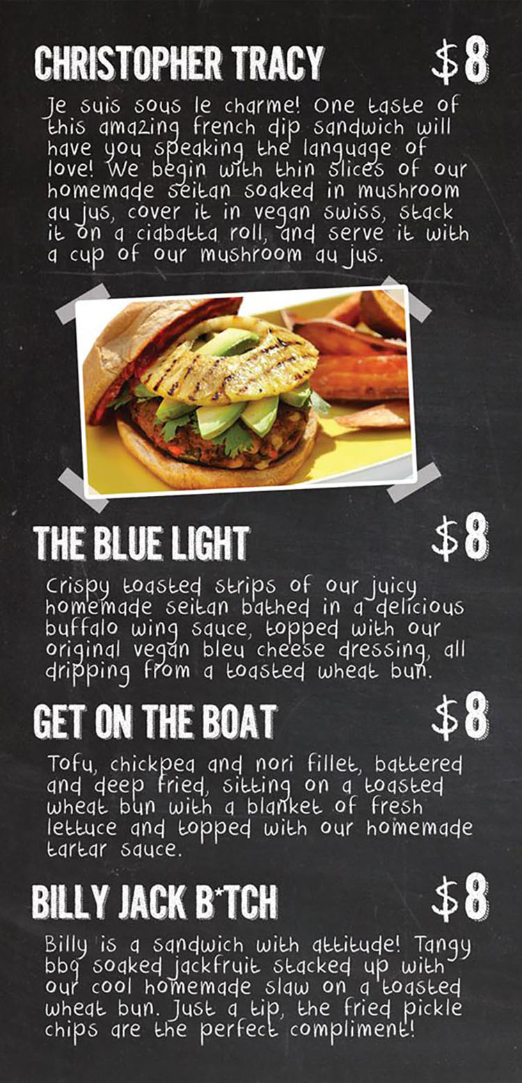 Kind Burger menu - page two