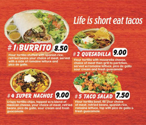La Salsita Grill food truck menu - page one