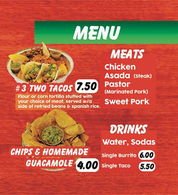 La Salsita Grill food truck menu - page two