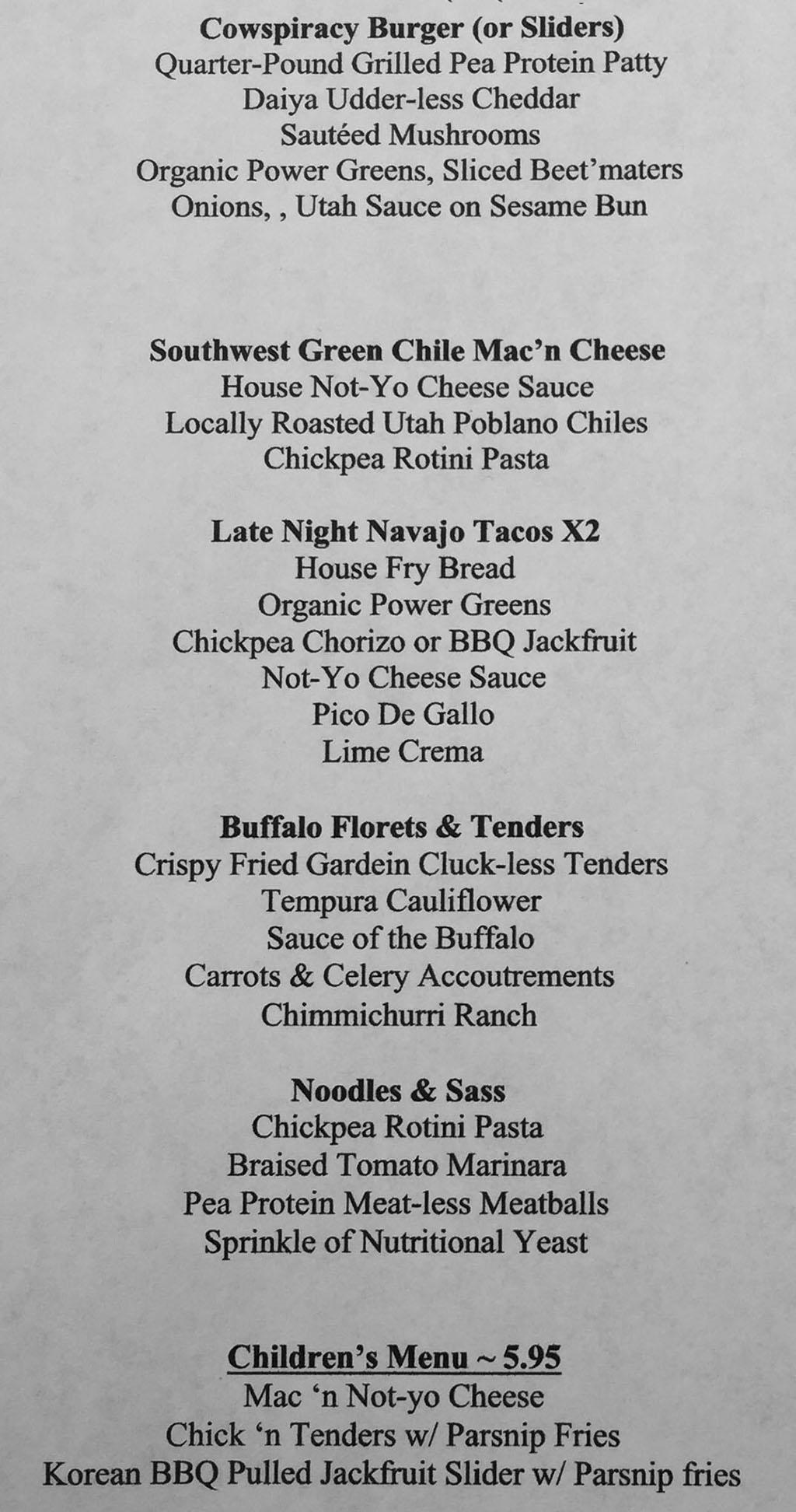 Lil Lotus menu - page one