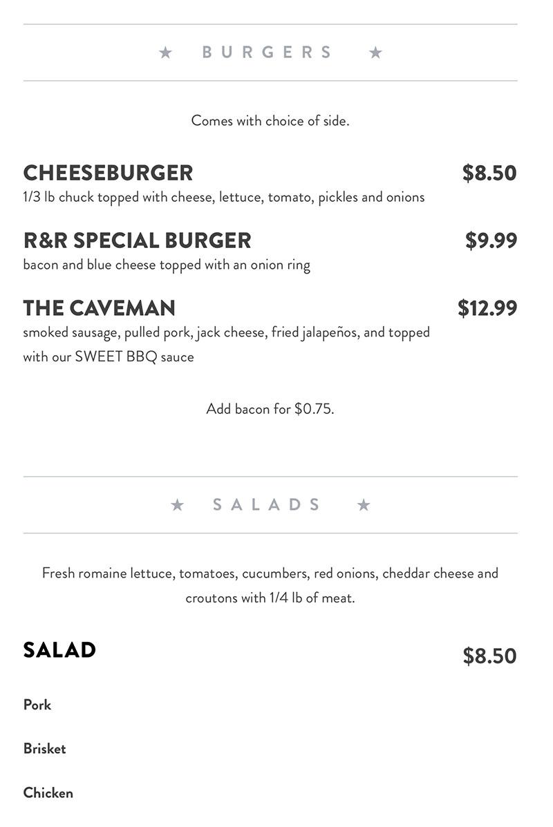 R&R BBQ menu - burgers and salads