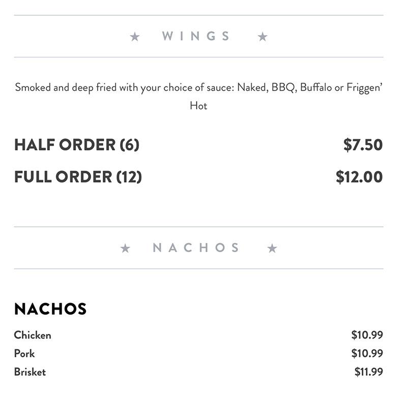 R&R BBQ menu - wings and nachos