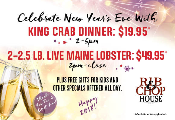 Rib And Chop House NYE 2017 menu