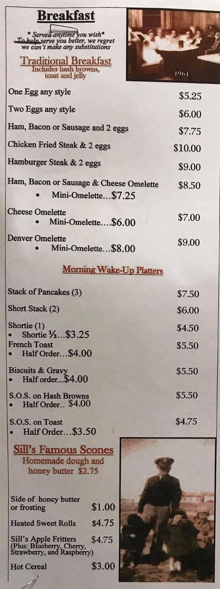 Sill's Cafe menu - breakfast
