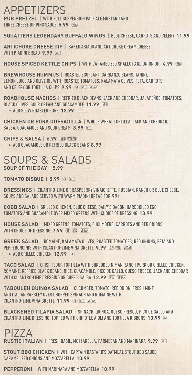 Squatters SLC airport menu - appetizers, soups, salads, pizza