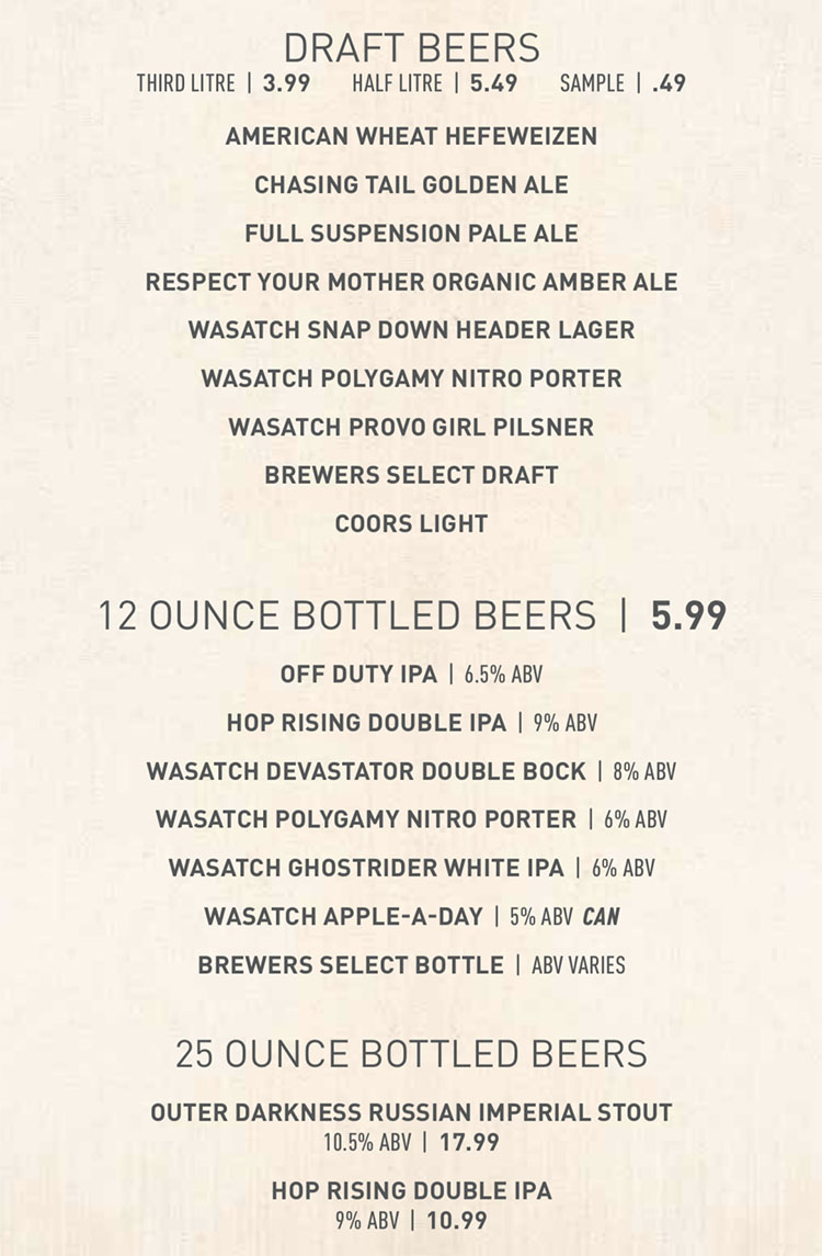 Squatters SLC airport menu - craft brews