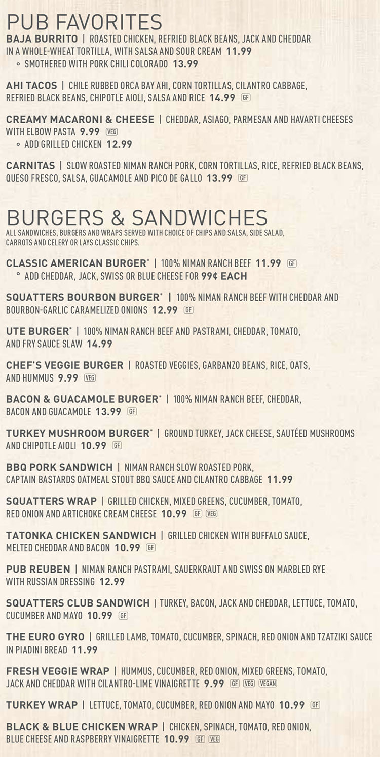 Squatters SLC airport menu - pub favorites, burgers, sandwiches