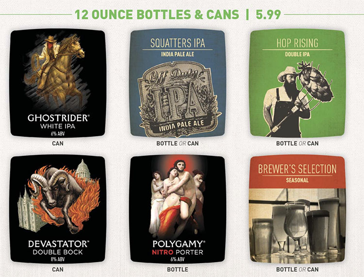 Squatters menu - canned beers