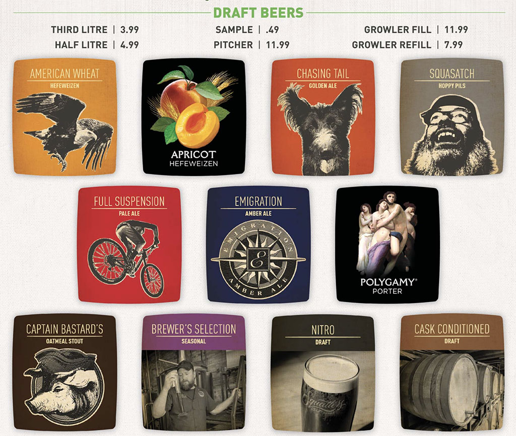 Squatters menu - draft beers and prices