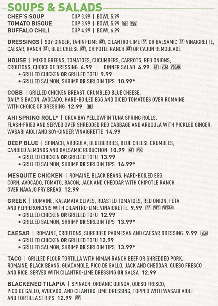 Squatters menu - soups and salads